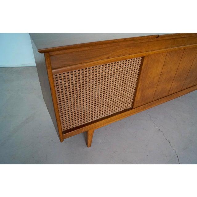 1960s Danish Modern Silvertone Walnut Record Console For Sale - Image 10 of 13