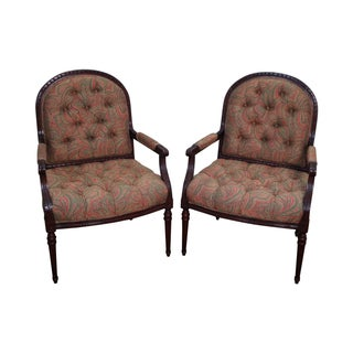 French Louis XVI Style Open Armchairs - A Pair