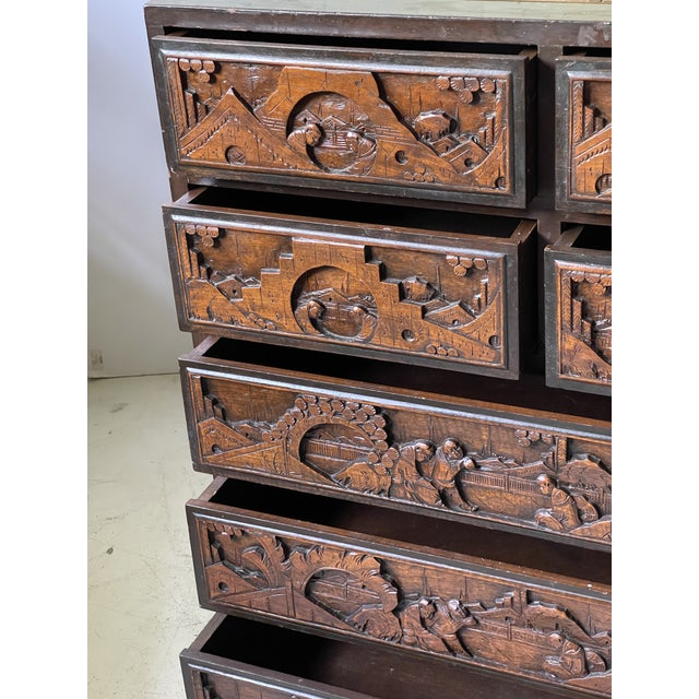 Chinoiserie Carved Camphor Wood Batchelor's Chest For Sale - Image 11 of 13