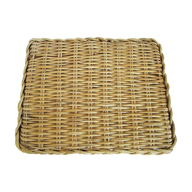 English Rattan & Bamboo Side Table For Sale - Image 4 of 5