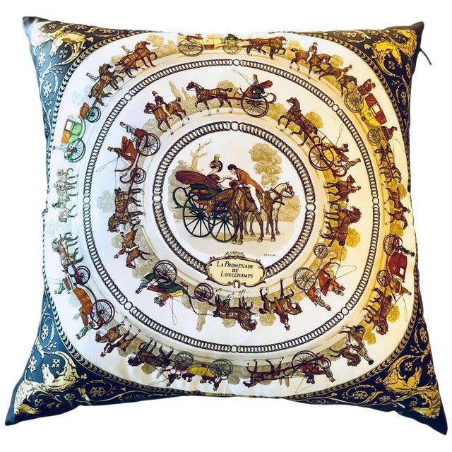 Enormous Hermes 'La Promenade De Longchamps' Overstuffed Silk Pillow For Sale - Image 12 of 12