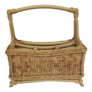 Vintage Rattan Silverware Basket Caddy For Sale