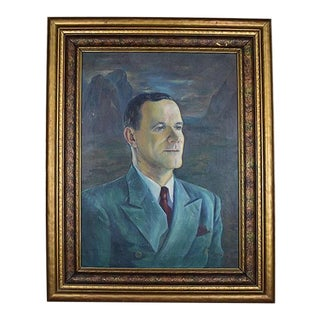 Large Mad Men Style Framed Portrait Painting of a Man on Canvas - Signed - 1960s For Sale