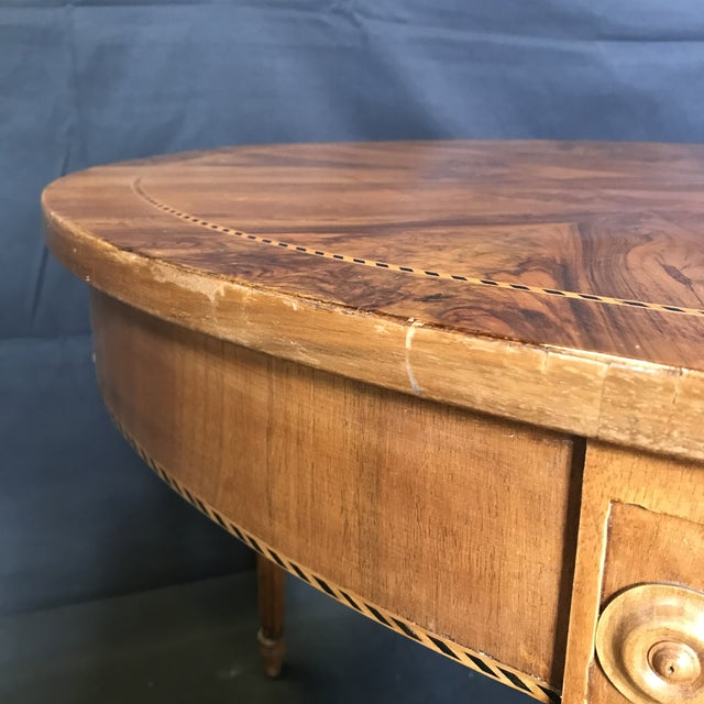 Antique French Inlaid Round Marquetry Table For Sale In Portland, ME - Image 6 of 8