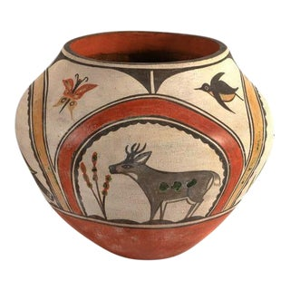 Southwest Zia Pueblo Polychrome Pottery With Deer, Goose, Birds and Butterfly For Sale