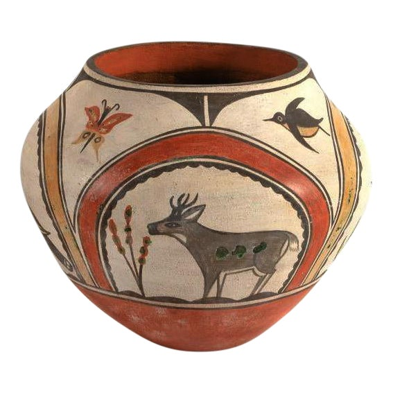 Southwest Zia Pueblo Polychrome Pottery With Deer, Goose, Birds and  Butterfly