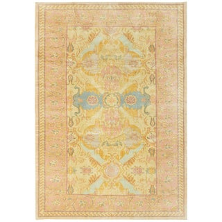 1970s Vintage Turkish Pastel Rug-6′ × 8′7″ For Sale