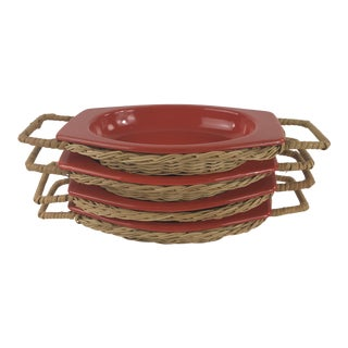 1970s Mid-Century Modern Dynasty Ware Wicker and Orange Enamel Serving Platters - Set of 4 For Sale