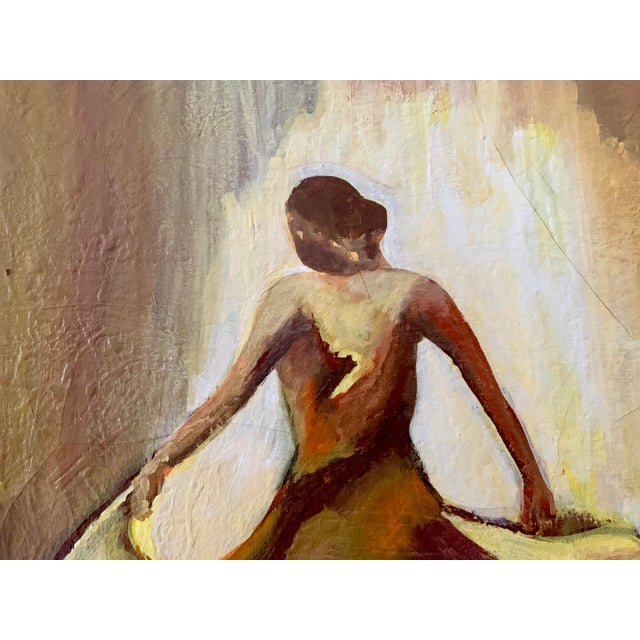 Vintage Female Dancer Portrait Oil on Canvas Painting For Sale In Minneapolis - Image 6 of 8