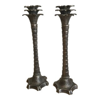 1960s Boho Chic Silver Palm Candlesticks - a Pair For Sale