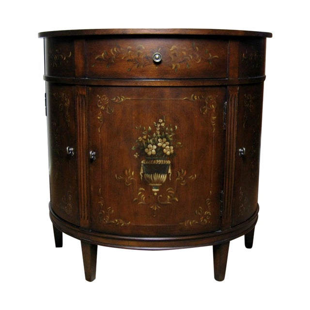 Ethan Allen Accent Table With Floral Design - Image 1 of 11