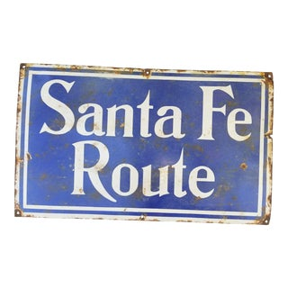 Old Enamel Santa Fe Route Railway Sign For Sale