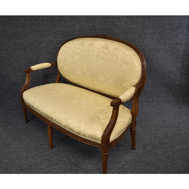 19th Century French Louis XVI Style Carved Chinoiseries Canape Settee For Sale - Image 12 of 12