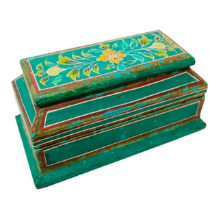 19th Century Hand-Painted Wood Box For Sale