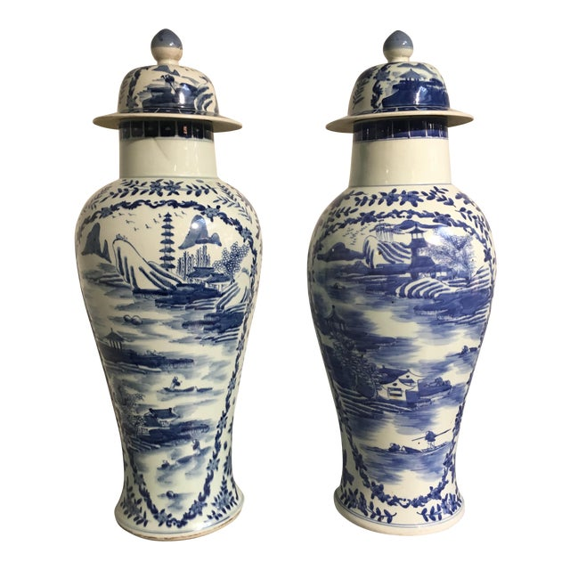 Chinese Tall Blue and White Baluster Covered Porcelain Vases, circa 1900- A Pair For Sale