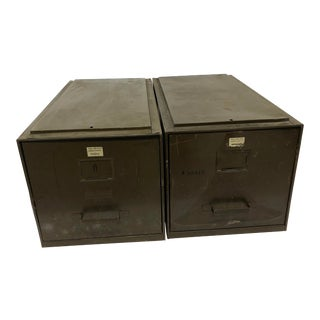 Vintage Industrial Green Metal File Boxes by ArtMetal - a Pair For Sale