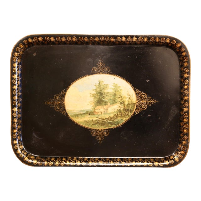19th Century French Napoleon III Black and Gilt Tole Tray With Pastoral Scene For Sale
