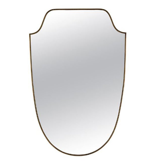 Metal Mid 20th Century Italian Brass Shield Mirror For Sale - Image 7 of 7
