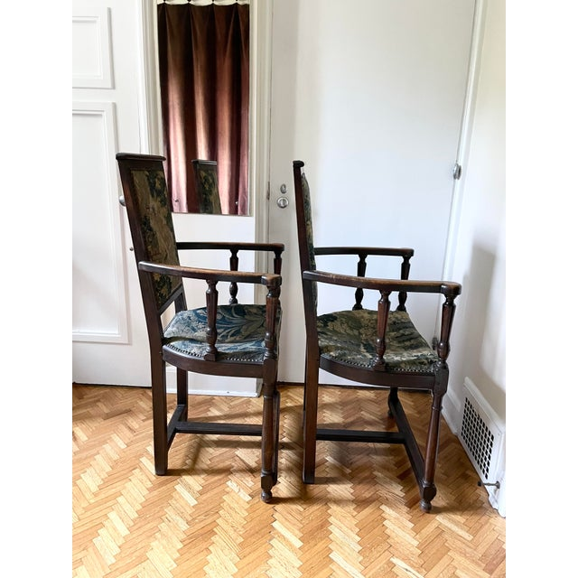 Charles II Revival 19th Century Walnut Arm Chairs With 17th Century Verdure Tapestry Upholstery - a Pair For Sale - Image 9 of 13