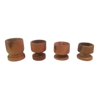 Hand Turned Wooden Candle Holders - Set of 4