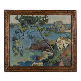 "French ""Brittany Coastline"" Painting by Ernest Jean Chevalier For Sale"