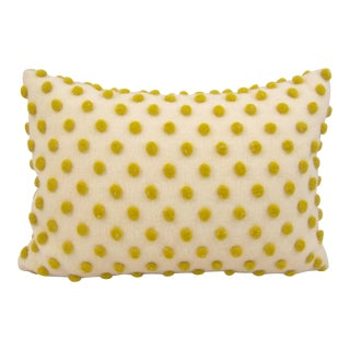 Anthropolgie Chartreuse Green Polka Dotted Wool Lumbar Pillow For Sale