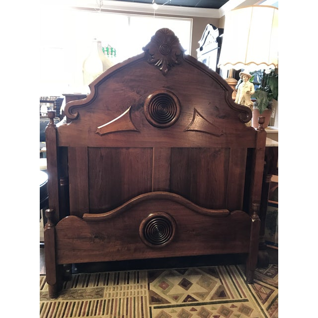 Victorian Walnut & Burlwood Victorian Full Bed For Sale - Image 4 of 9