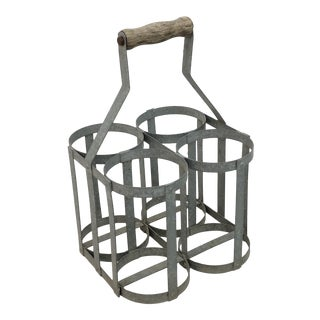 1950s French Metal Bottle Carrier For Sale