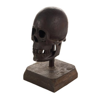 19th Century Hand Carved Wooden Skull