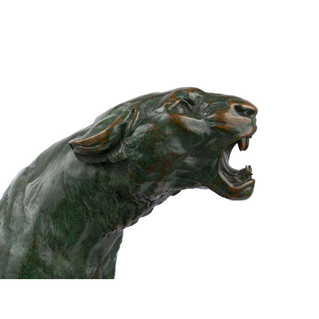 """""""Wounded Lioness"""" French Antique Bronze Sculpture by Charles Valton For Sale - Image 11 of 13"""