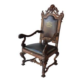 Mid 19th Century Italian Baroque Style Armchair For Sale