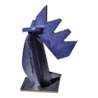 Abstract Geometric Ceramic Stoneware Sculpture For Sale