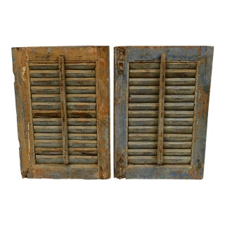Vintage French Chippy Paint Shutters With Original Hardware - a Pair For Sale