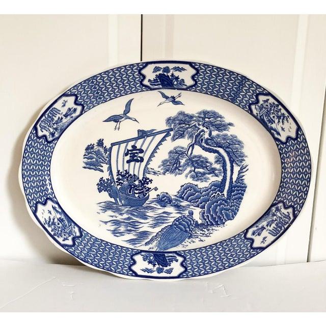1970s Large Blue & White Japanese Platter For Sale - Image 5 of 5