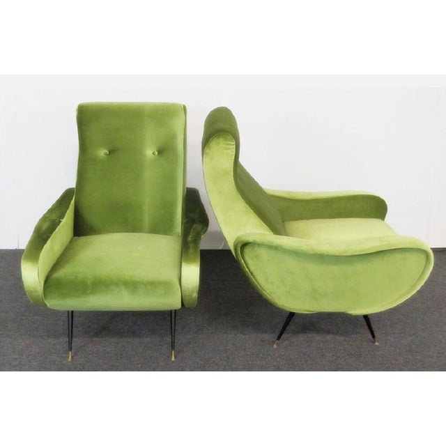 Hollywood Regency Final Markdown > Mid-Century Zanuso Style Lime Green Velvet Lounge Chairs - a Pair For Sale - Image 3 of 7