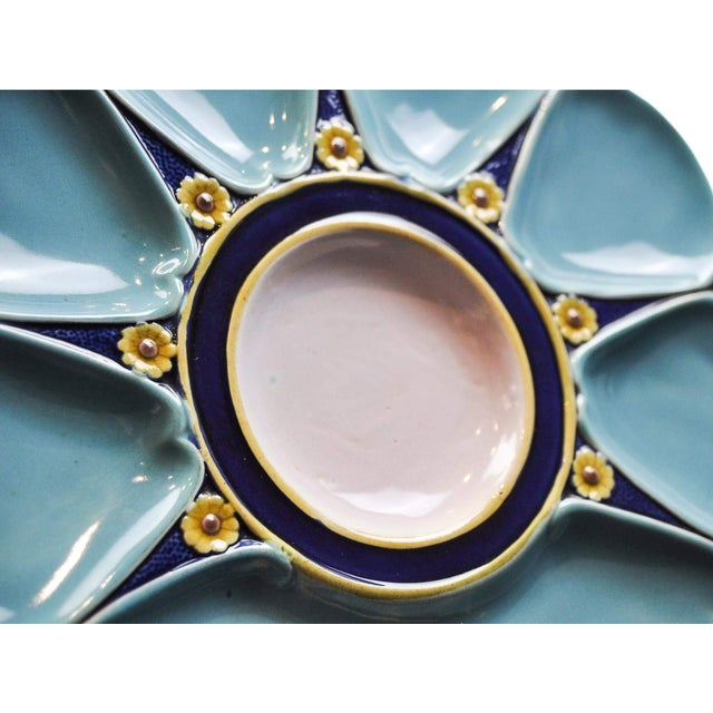 Minton Majolica Oyster Plate For Sale - Image 10 of 11
