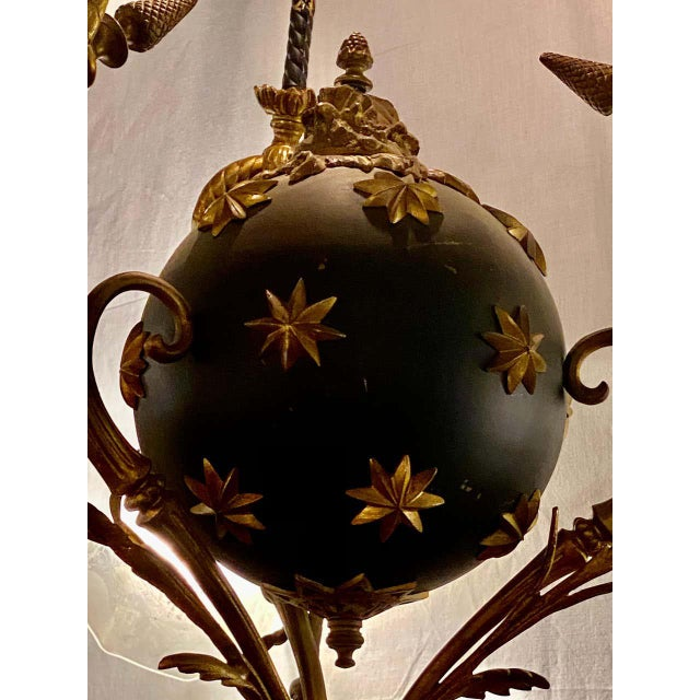 French Antique French Empire Style Chandelier Ebonized Sphere With Bronze Surrounds For Sale - Image 3 of 13