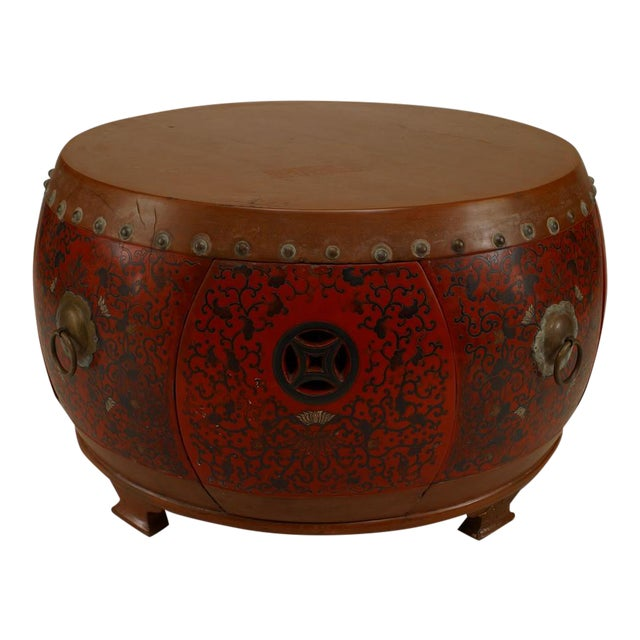 Drum Shaped Coffee Table.Asian Chinese Style Round Red And Brown Lacquer And Coromandel Drum Shaped Coffee Table