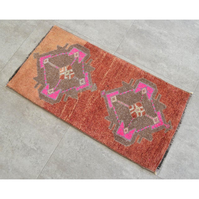 Shabby Chic Hand Knotted Low Pile Rug Turkish Rug Door Mat Entryway Mat Bath Rug - 18'' X 35'' For Sale - Image 3 of 5