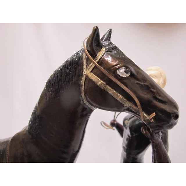 "Metal Signed Ferdinand Preiss Art Deco Bronze ""Woman & Horse"" Statue For Sale - Image 7 of 8"