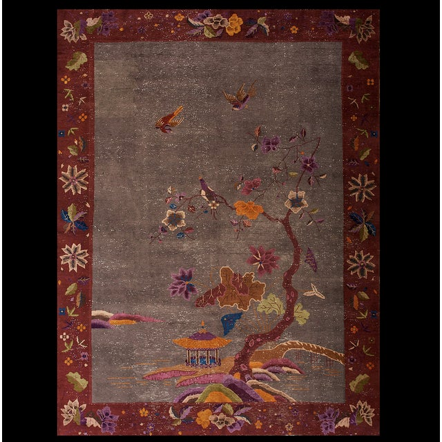 """Antique Chinese Art Deco Rug 8'10""""x11'6"""" For Sale - Image 13 of 13"""