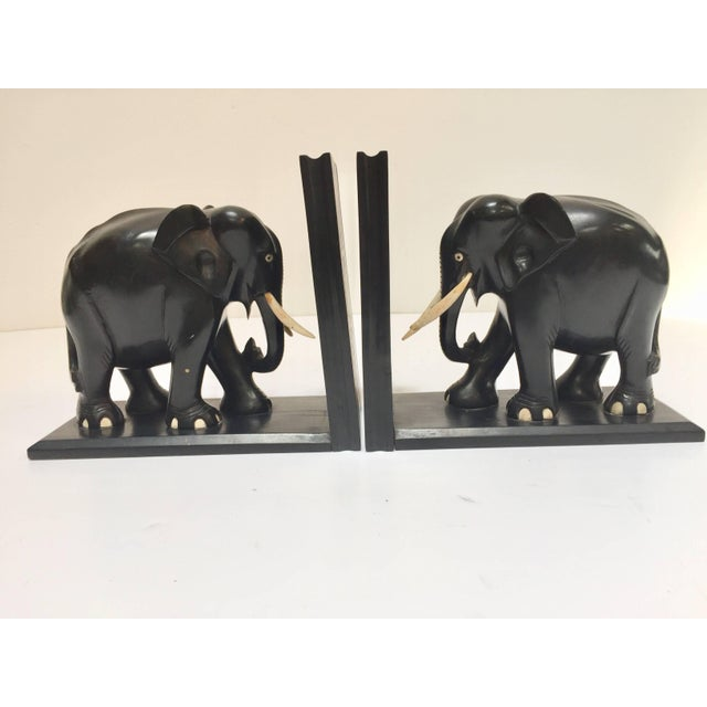 Hand-Carved Large Ebonized African Elephant Bookends, Circa 1950 For Sale In Los Angeles - Image 6 of 13