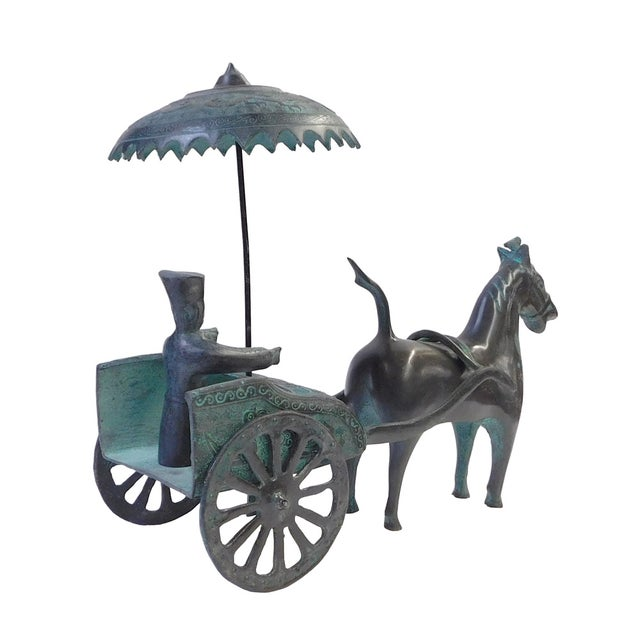 Ancient Mixed Metal Horse Cart - Image 4 of 5