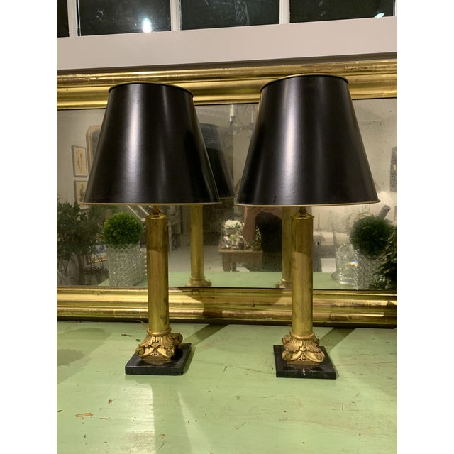 Gold Gilded Column Lamps on Marble Bases With Black, Gold-Lined Shades - a Pair For Sale - Image 8 of 8