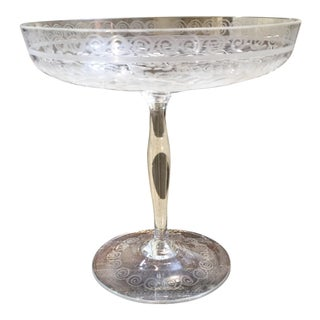 Hand-Etched Pedestal Candy Dish For Sale