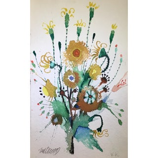 Original Watercolor on Punjab Paper, Sunflowers Brawling. For Sale