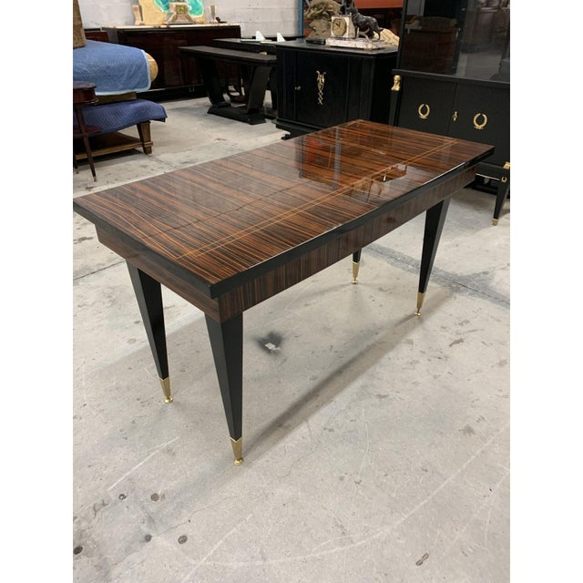 Art Deco 1940s French Art Deco Macassar Ebony Writing Desk For Sale - Image 3 of 13