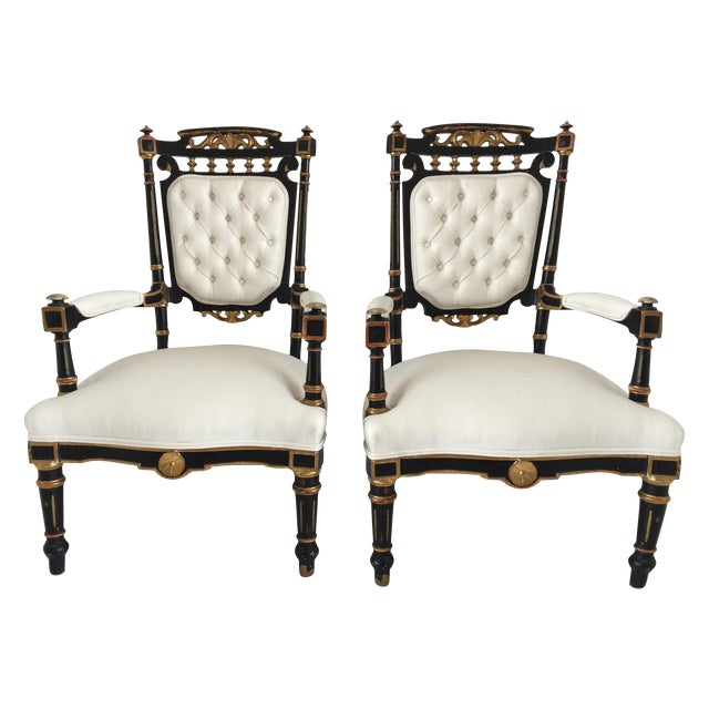 19th Century Ebonized and Gilded Chairs - Pair For Sale