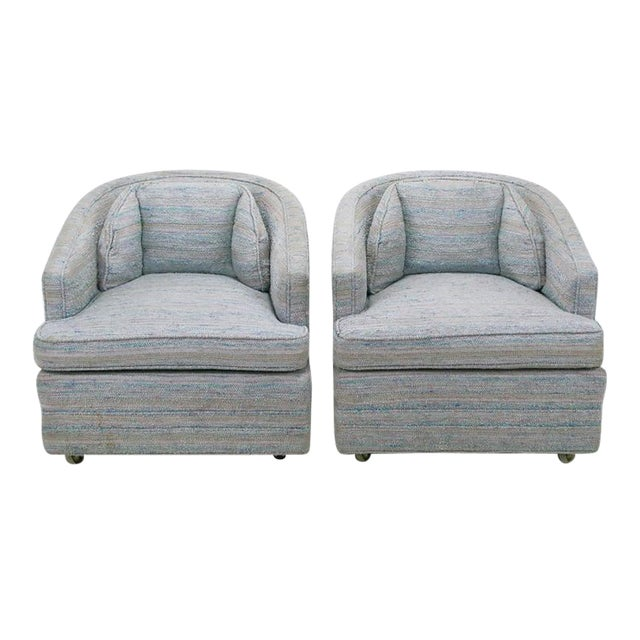 Pair of Knapp & Tubbs Barrel Chairs in Original Blue Upholstery - Image 1 of 9