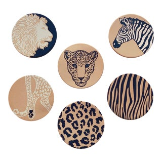 Wild Safari Vachetta Leather Coasters For Sale